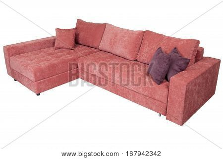 Corner sofa bed of pink with a storage system isolated on a white background saved path selection.