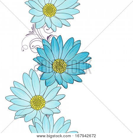 Seamless floral pattern with flower chamomile. Element for design. Hand-drawing vector illustration.