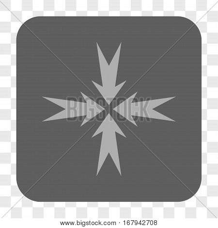 Compression Arrows interface toolbar button. Vector icon style is a flat symbol in a rounded square button, light gray and gray colors, chess transparent background.