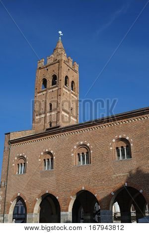 Monza (Brianza Lombardy Italy) : the medieval Arengario palace built in 13th century (1293) situated in Roma square
