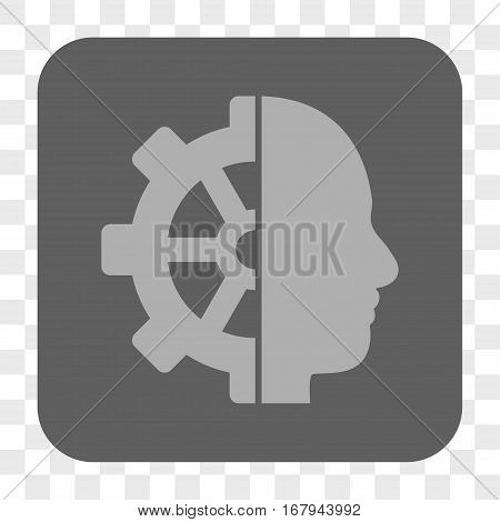 Cyborg Gear interface toolbar button. Vector icon style is a flat symbol inside a rounded square button, light gray and gray colors, chess transparent background.