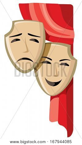 Comedy and tragedy theater masks - vector illustration