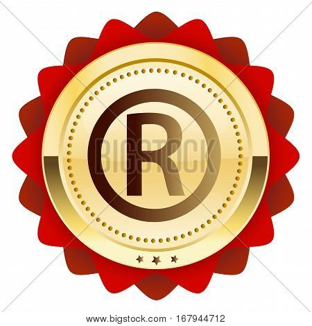 Registered seal or icon. Glossy golden seal or button.
