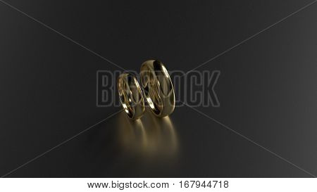 The beauty gold ring on black background. 3d rendering