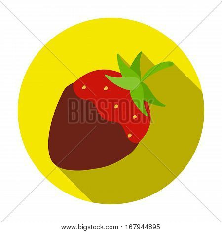 Strawberry in chocolate icon in flat design isolated on white background. Chocolate desserts symbol stock vector illustration.