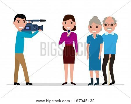 Vector illustration of a cartoon young man with a video camera and a woman journalist interviewing elderly. Isolated on white background. Concept of TV. Flat style.