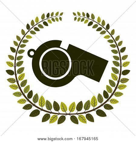arch of leaves with closeup whistle vector illustration