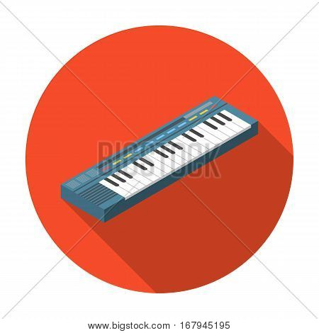Synthesizer icon in flat design isolated on white background. Musical instruments symbol stock vector illustration.