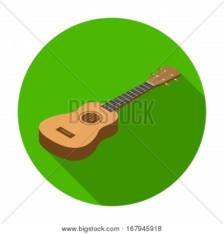Acoustic bass guitar icon in flat design isolated on white background. Musical instruments symbol stock vector illustration.