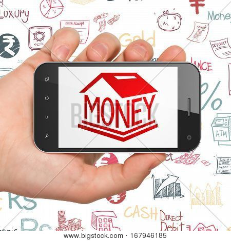 Money concept: Hand Holding Smartphone with  red Money Box icon on display,  Hand Drawn Finance Icons background, 3D rendering