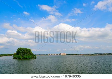 Beautiful summer view of Uglich Reservoir (on horizon - Uglich hydroelectric power station) Russia