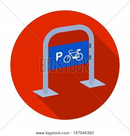 Bicycle parking icon in flat design isolated on white background. Parking zone symbol stock vector illustration.