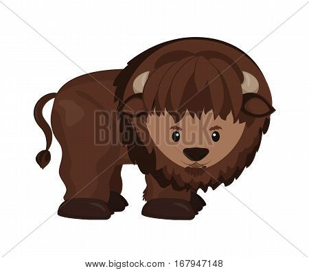 American buffalo north american wild bison. Vector illustration