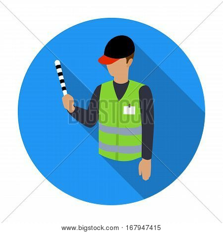 Parking attendant icon in flat design isolated on white background. Parking zone symbol stock vector illustration.