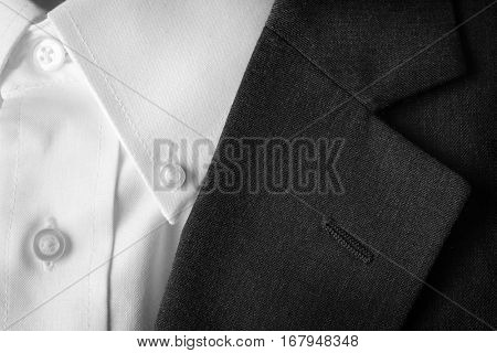 Closeup of suit buttons and lapel for business or formal wear
