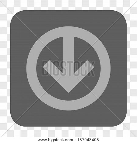 Direction Down interface toolbar button. Vector icon style is a flat symbol in a rounded square button, light gray and gray colors, chess transparent background.