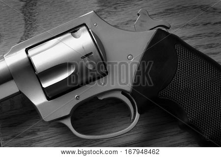 Closeup of pistol handgun trigger for shooting self defense or military