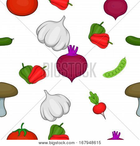 Vegetable culture pattern. Cartoon illustration of vegetable culture vector pattern for web