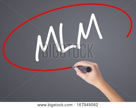 Woman Hand Writing  Mlm (multi-level Marketing) With Black Marker On Visual Screen