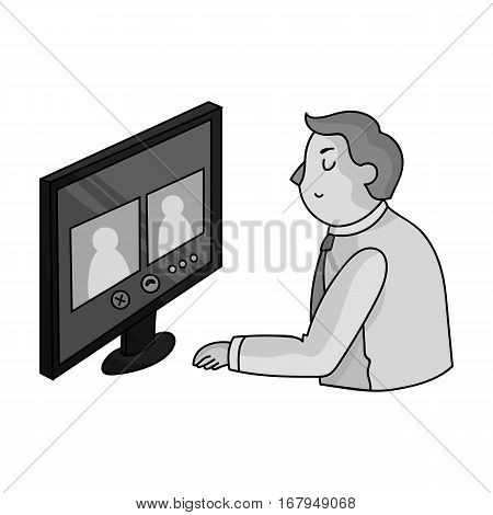 Video conference icon in monochrome design isolated on white background. Conference and negetiations symbol stock vector illustration.