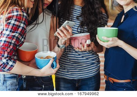 Group beautiful young people enjoying in conversation and drinking coffee, best friends girls together having fun, posing emotional lifestyle people concept.