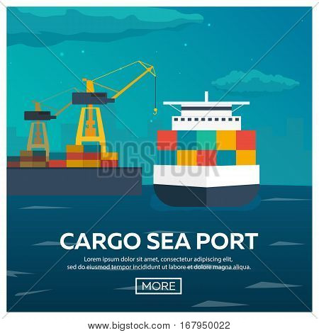 Sea Transportation Logistic. Sea Freight. Maritime Shipping. Merchant Marine. Cargo Ship. Vector Fla
