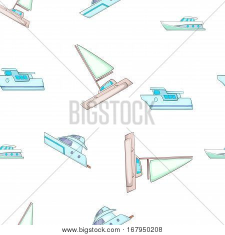 Sea yacht pattern. Cartoon illustration of sea yacht vector pattern for web design