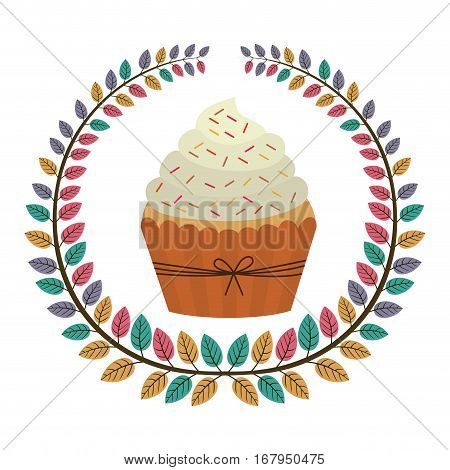 crown of leaves with cupcake with cream and sparks vector illustration