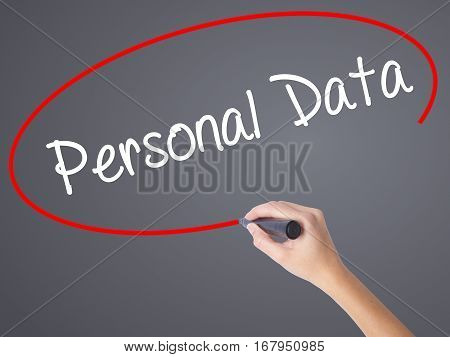 Woman Hand Writing Personal Data  With Black Marker On Visual Screen