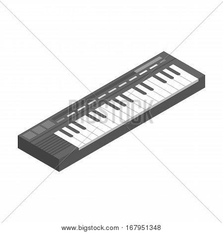 Synthesizer icon in monochrome design isolated on white background. Musical instruments symbol stock vector illustration.