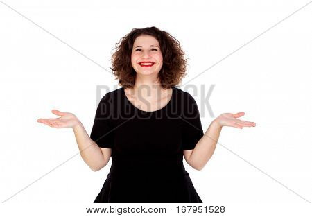 Portrait of a doubtful curvy girl with red lips isolated on a white background