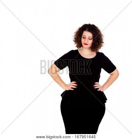 Beautiful curvy girl with black dress and red lips isolated on a white background