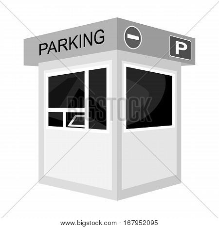 Parking toll booth icon in monochrome design isolated on white background. Parking zone symbol stock vector illustration.
