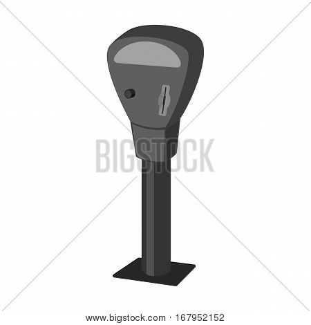 Parking meter icon in monochrome design isolated on white background. Parking zone symbol stock vector illustration.