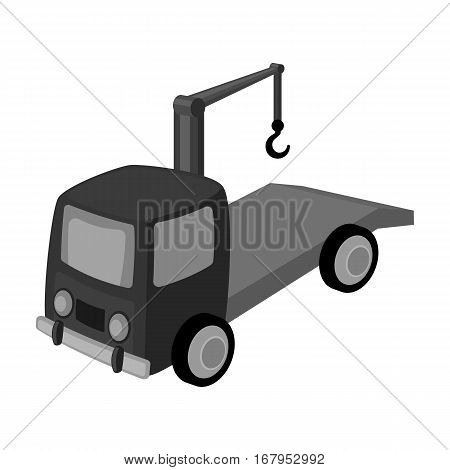 Tow truck icon in monochrome design isolated on white background. Parking zone symbol stock vector illustration.