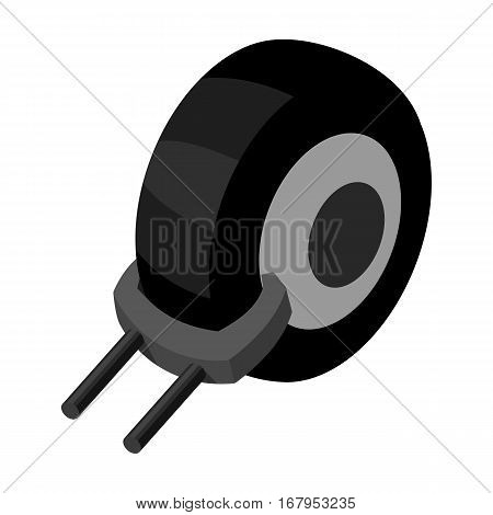 Wheel clamp icon in monochrome design isolated on white background. Parking zone symbol stock vector illustration.