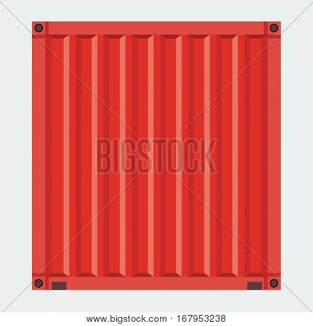 Cargo container for shipping with flat solid color design. Red color.