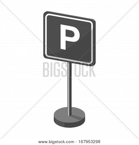 Parking sign icon in monochrome design isolated on white background. Parking zone symbol stock vector illustration.