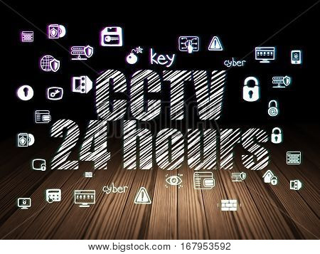 Security concept: Glowing text CCTV 24 hours,  Hand Drawn Security Icons in grunge dark room with Wooden Floor, black background
