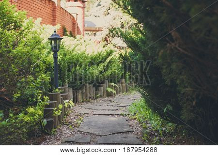 Beautiful landscape design, garden path with park light, wooden fence, evergreen bushes and shrubs in sunlight. Modern landscaping. Summer garden