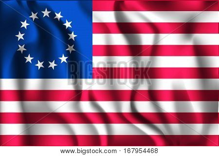 American Betsy Ross Flag. Rectangular Shaped Icon With Wavy Effect. Aspect Ratio 2 To 3