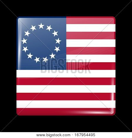American Betsy Ross Flag. Glossy Icon Square Shape