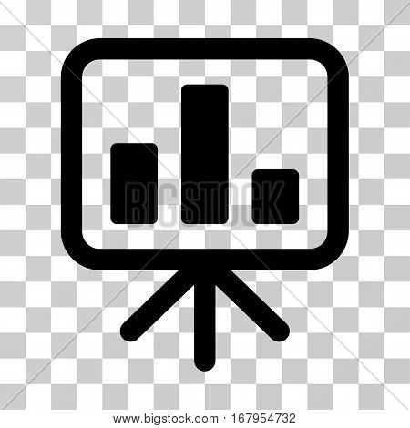 Bar Chart Display icon. Vector illustration style is flat iconic symbol, black color, transparent background. Designed for web and software interfaces.