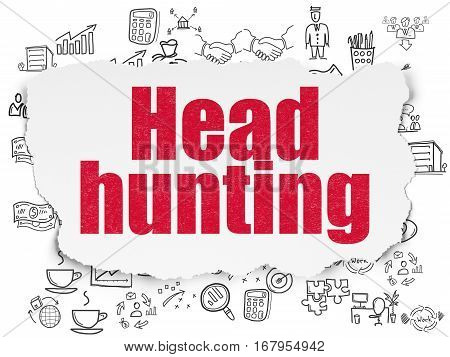 Business concept: Painted red text Head Hunting on Torn Paper background with  Hand Drawn Business Icons