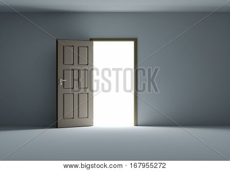 Open door with bright light streaming into very dark room. 3D Illustration