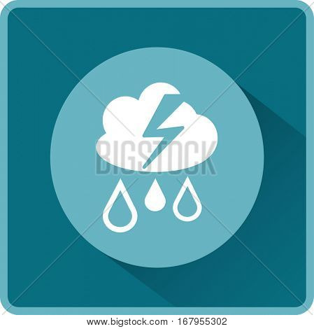Flat icon. Cloud, lightning and rain. Drops fall from the cloud. A flash of lightning.