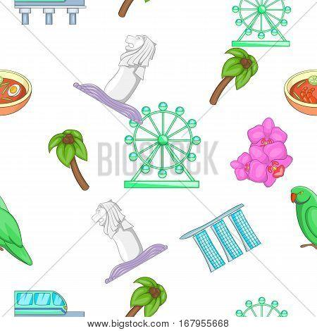 Country Singapore pattern. Cartoon illustration of country Singapore vector pattern for web