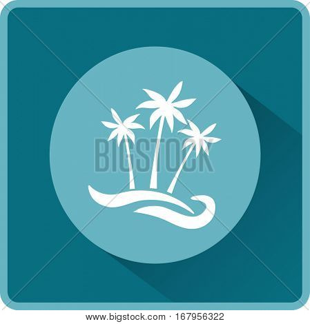 Flat icon. Palm trees on the beach. Waves and palms. Holiday, vacation.