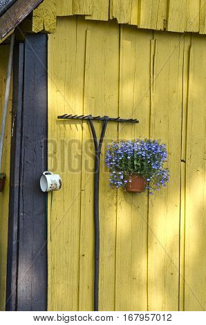 yellow wooden old barn wall with rake and flower vase