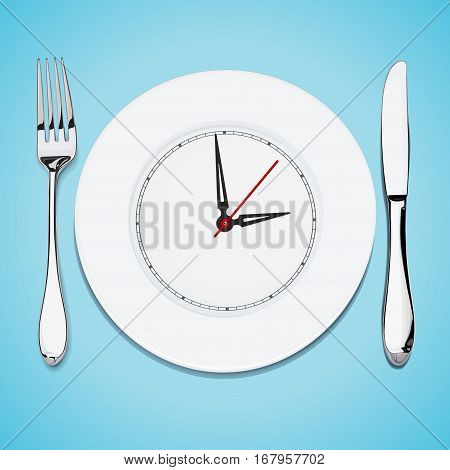 vector illustration, realism, steel cutlery, white dish knife and fork, the clock showing time to eat on a blue background